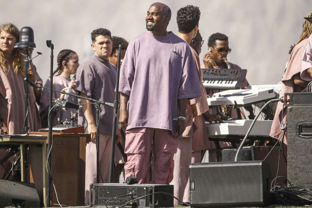 INDIO, CALIFORNIA - APRIL 21: Kanye West performs Sunday Service during the 2019 Coachella Valley Music And Arts Festival on April 21, 2019 in Indio, California.   Rich Fury/Getty Images for Coachella/AFP