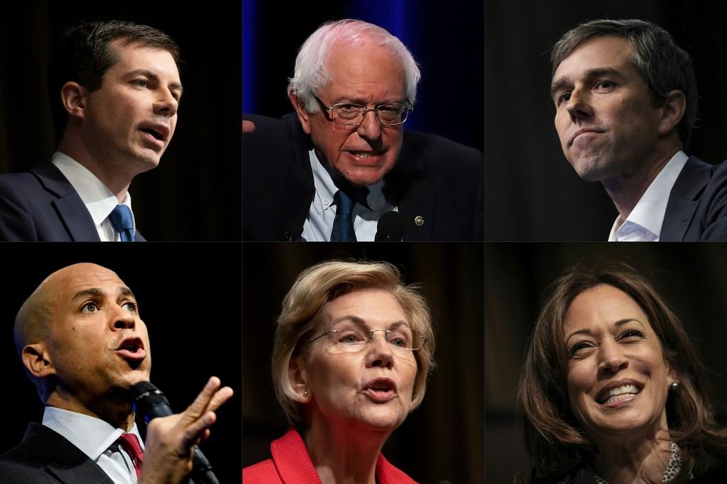 Pete Buttigieg,Bernie Sanders y Beto O'Rourke (arriba, de izquierda a derecha) Cory Booker, Elizabeth Warren y  Kamala Harris (abajo, de izqueirda a derecha). | ARCHIVO | Agence France-Presse