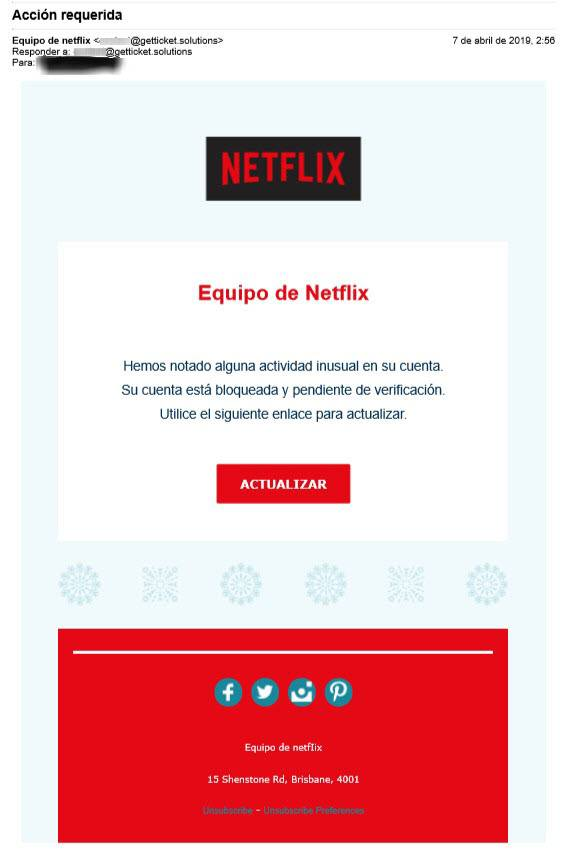 Correo que suplanta la identidad de Netflix