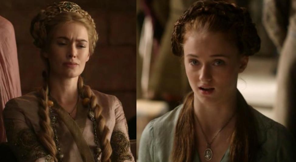 Izquierda: Cersei Lannister; derecha: Sansa Stark   Game of Thrones