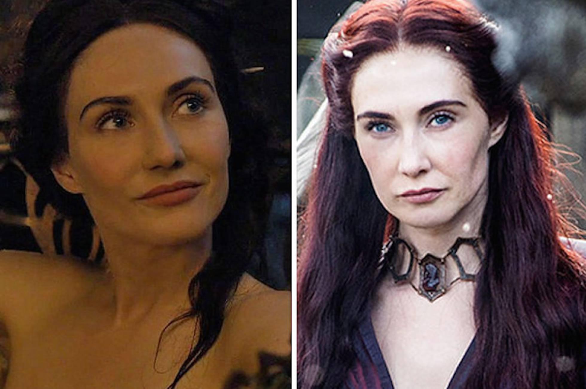 Izquierda: Melisandre joven sin el collar; derecha: con la joya puesta | Game of Thrones