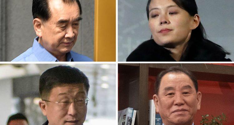 Kim Chang Son, Kim Yo Jong, Kim Yong Chol y  Kim Hyok Chol (izquierda a derecha) | Agence France-Presse