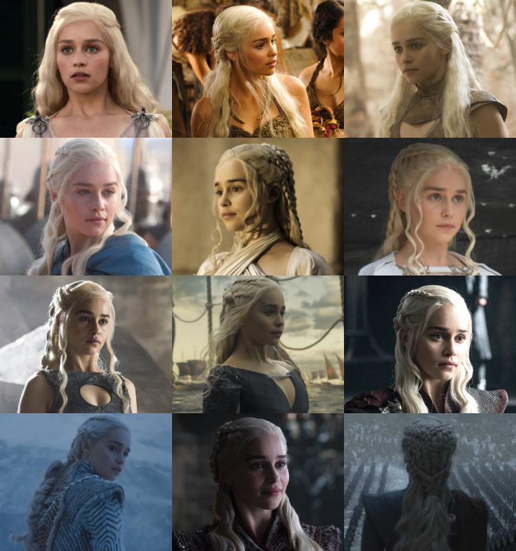 Evolución de las trenzas de Daenerys en Game of Thrones