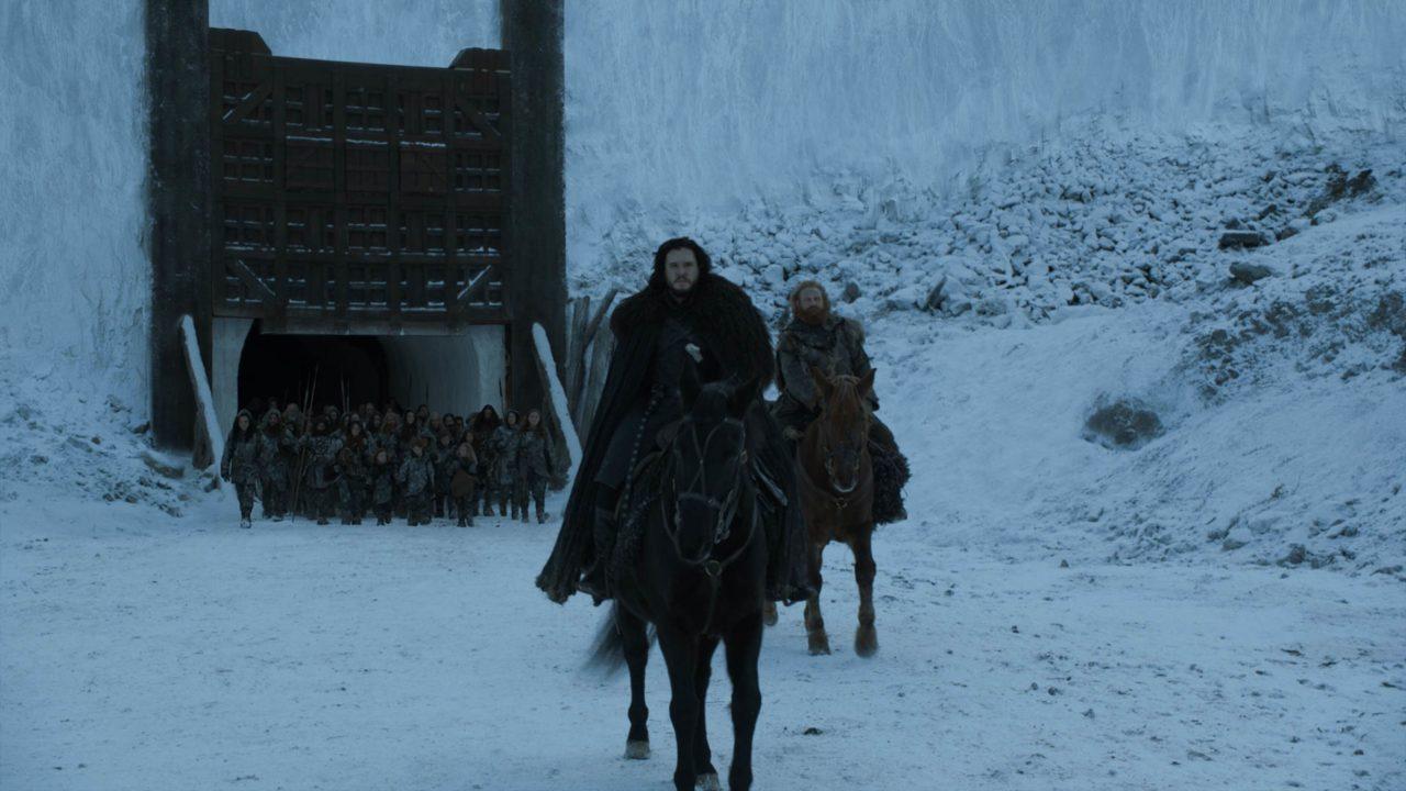 Jon y Tormund yéndose más allá del Muro