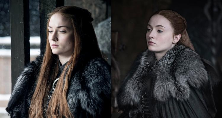 Sansa en la temporada 7 (derecha) y 8 (izquierda)   Game of Thrones