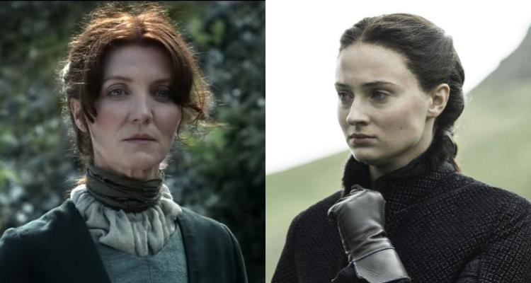 Izquierda: Catelyn Stark; derecha: Sansa Stark   Game of Thrones