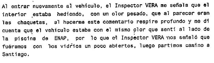 Extracto de la declaración que prestó una de las funcionarias de la PDI que resultó intoxicada