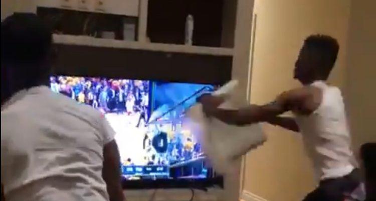 Furioso hincha rompe dos televisores y agrede a amigo luego de la derrota de los Warriors en la NBA