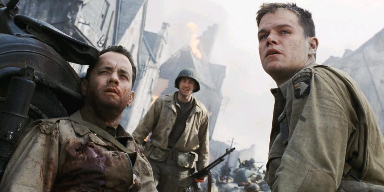 Matt Damon interpretando a James Ryan (Frederick en la ficción) en Rescatando al Soldado Ryan