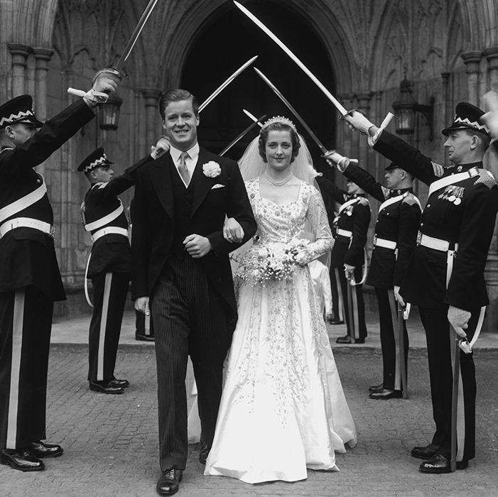 El día de la boda de los padres de Diana, en 1954.