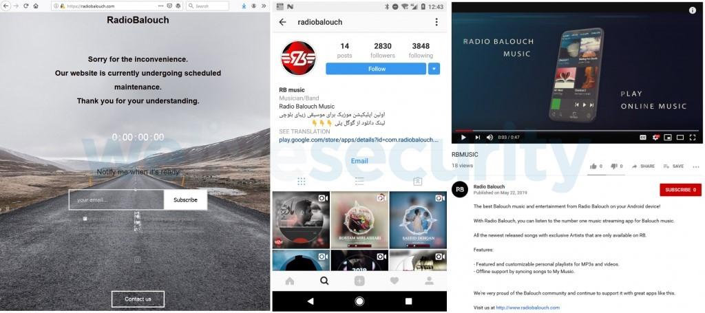 El sitio web de Radio Balouch (izquierda), cuenta de Instagram (centro) y video promocional de YouTube (derecha)