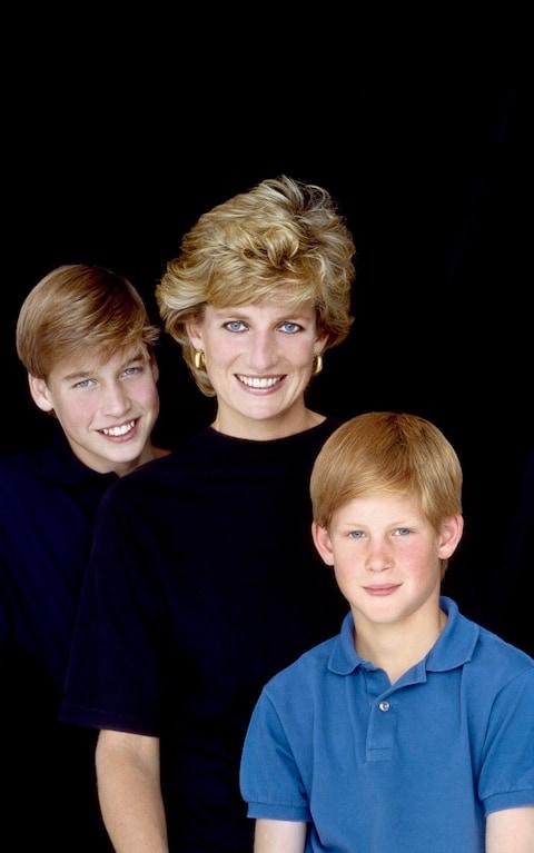 William, Diana y Harry