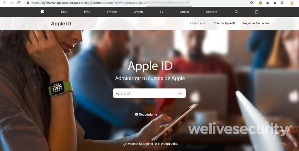 Falsa página de Apple ID