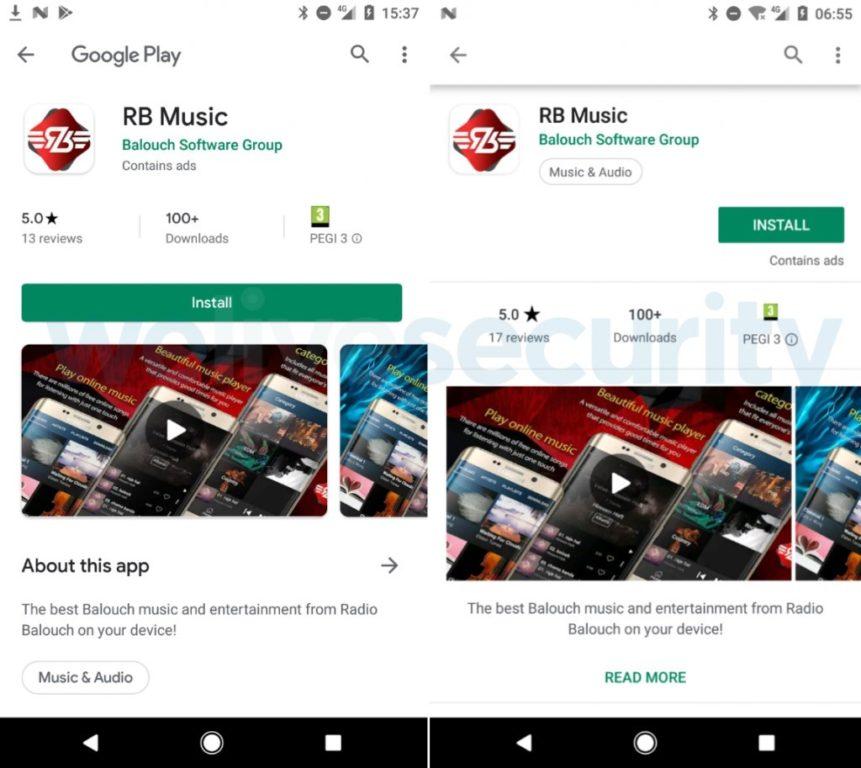 La aplicación maliciosa Radio Balouch apareció dos veces en Google Play