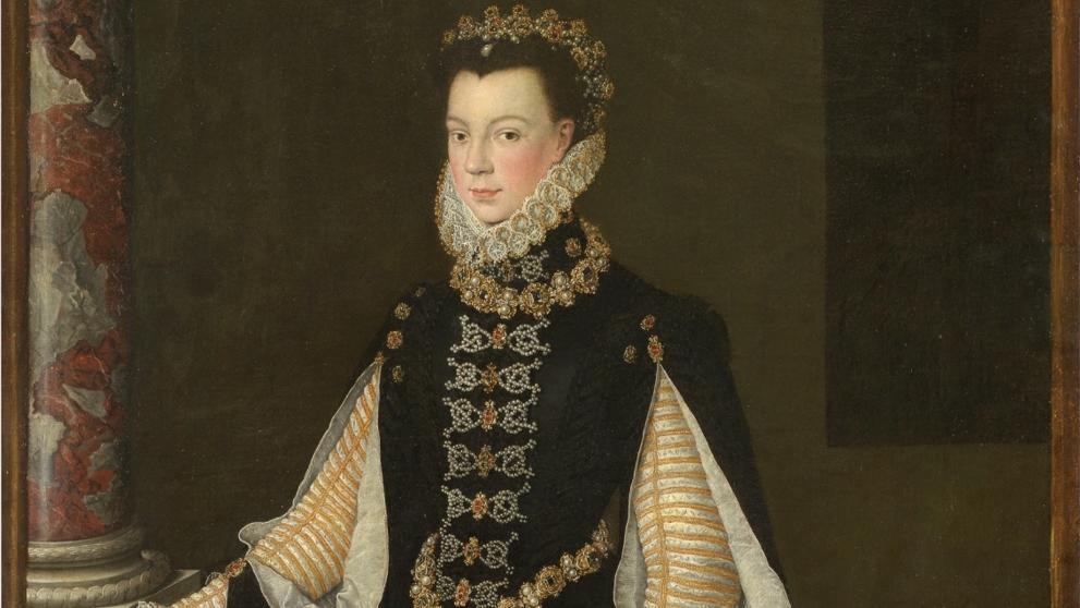 """""""Isabel de Valois sosteniendo un retrato de Felipe II"""" de Anguissola."""