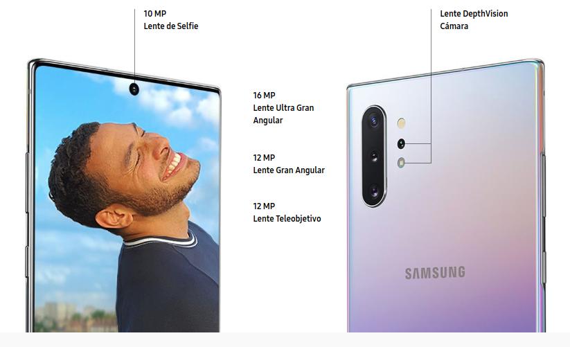 La cámara DepthVision solo esta disponible en el Galaxy Note10+. El Note10 tiene 4 lentes: 1 frontal y 3 traseros