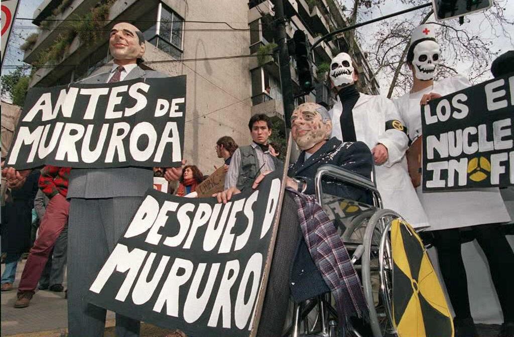 Protesta en Chile contra pruebas en Mururoa en 1995 | AFP