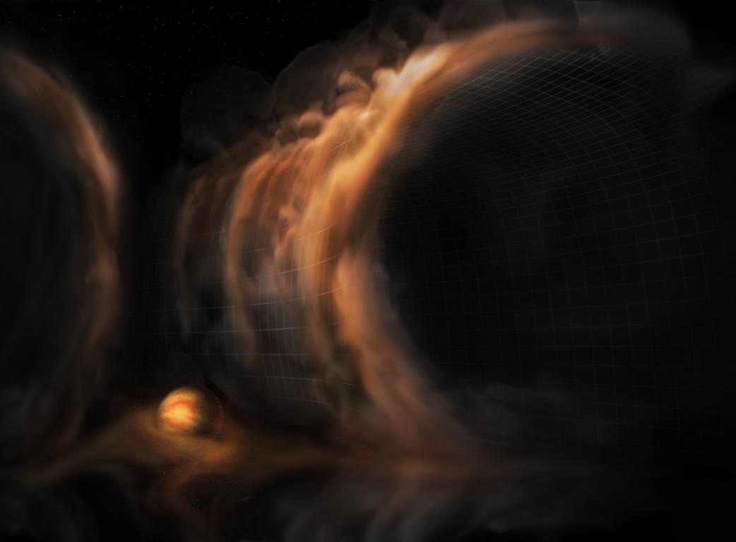 Representación del gas que fluye en cascada hacia el surco de un disco protoplanetario | NRAO/AUI/NSF, S. Dagnello
