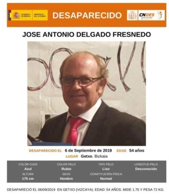 Anuncio de búsqueda de José Antonio Delgado Fresnedo