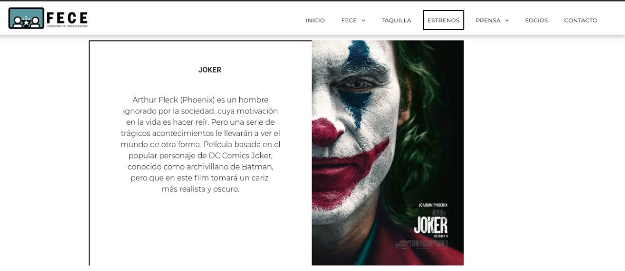 Joker en los cines españoles