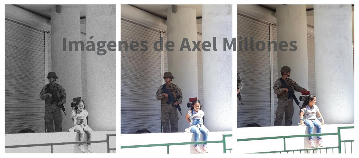 Imágenes que tomó Axel Millones el 21 de octubre en Coquimbo. A la izquierda, en blanco y negro, la fotografía que circuló en redes sociales y editada por el autor. Al medio la original a color, y a la derecha otra toma de la niña con los brazos a los lados
