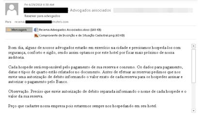 Un correo electrónico de phishing enviado a un hotel en el que se imita una solicitud de reserva realizada por la oficina de un abogado.