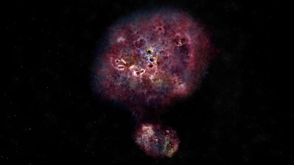 Impresión artística de cómo se vería MAMBO-9 con luz visible | ALMA