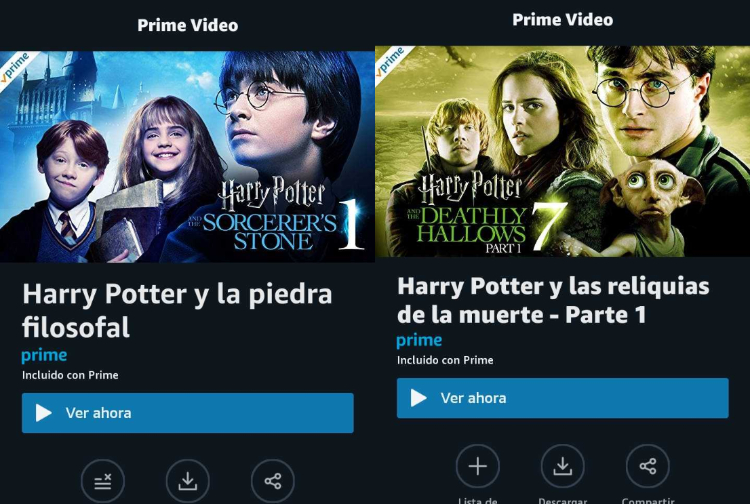 Harry Potter en Amazon Prime Video