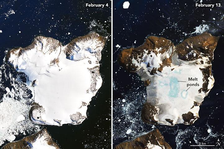 Imagen tomada el 4 de febrero (izquierda) y el 13 de febrero (derecha)   Earth Observatory/NASA