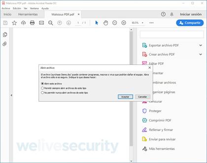 Mensaje mostrado por Adobe Acrobat Reader pidiendo autorización al usuario para abrir el archivo .doc embebido