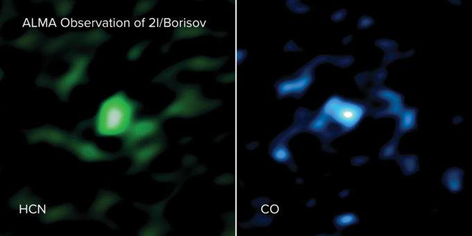 Gas de ácido cianhídrico (HCN, izquierda) y de monóxido de carbono (CO, derecha) saliendo del cometa 2l/Borisov