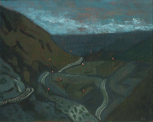 """""""Camino a la Tierra Prometida"""""""", de Coco González Lohse, óleo sobre cartón entelado de 12x15 cm. Isabel Croxato Galería (c)"""