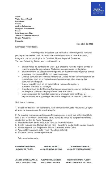 Comunicado Costa Araucanía