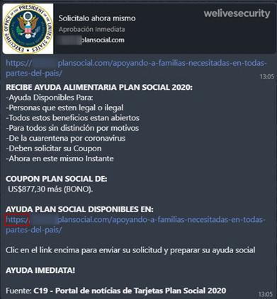 Mensaje inicial de la campaña que llega a través de WhatsApp