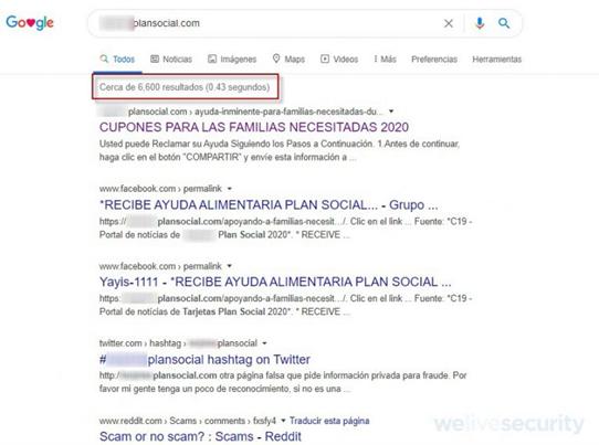 Resultados de la búsqueda en Google del dominio que aloja la campaña fraudulenta