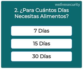 Ejemplo de las preguntas que incluye la encuesta