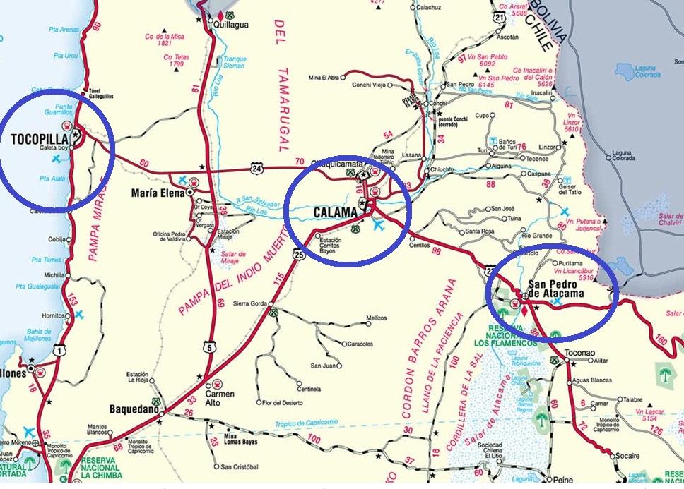 Mapa de ciudades entre las que se desarrollaron los hechos | Turismovirtual.cl