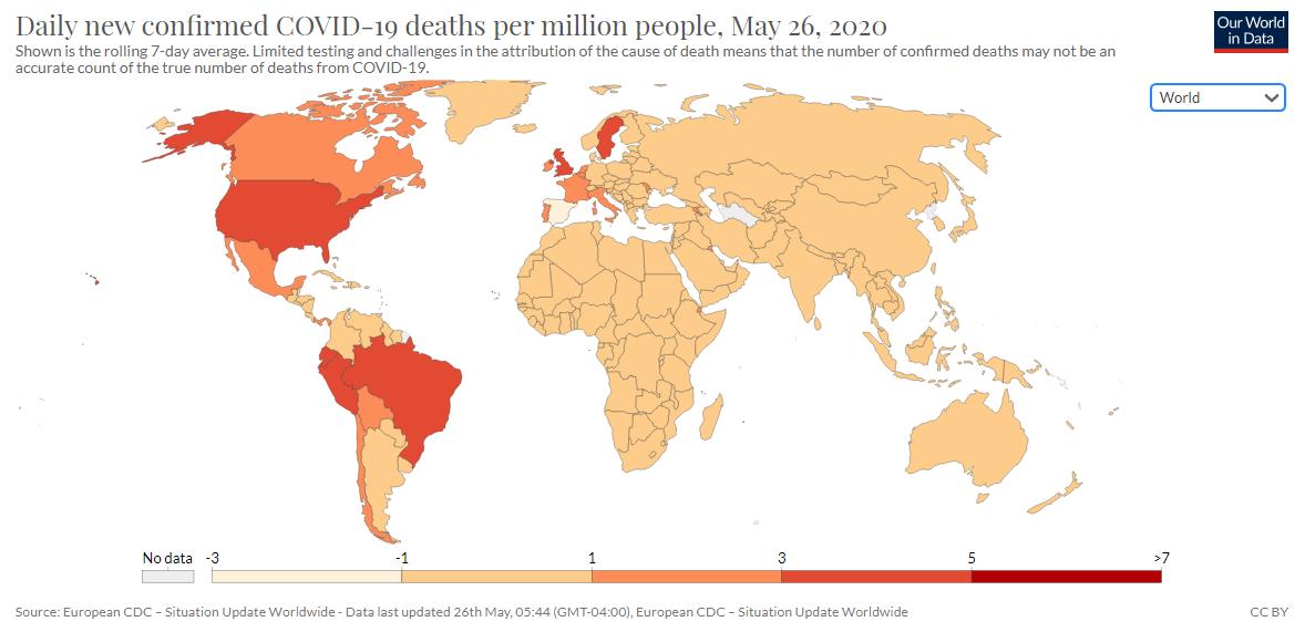 Promedio de muertes diarias por coronavirus | Our World in Data