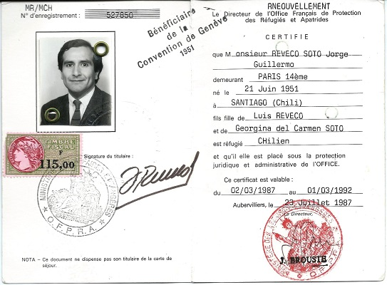 Tarjeta de refugiado, Jorge Reveco (c)