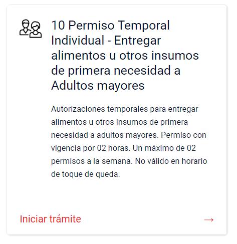 Permiso Temporal para asistir a adultos mayores