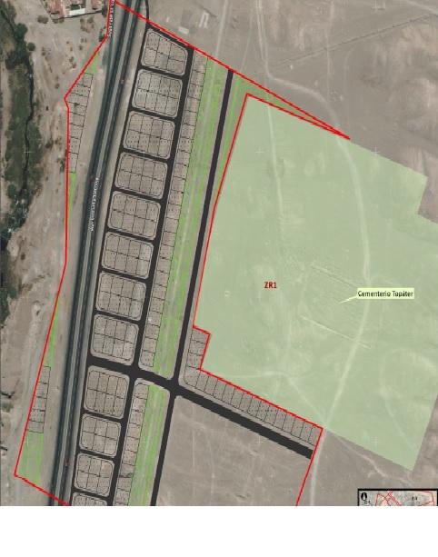 Mapa Cementerio Topater y proyecto inmobiliario | Cedida
