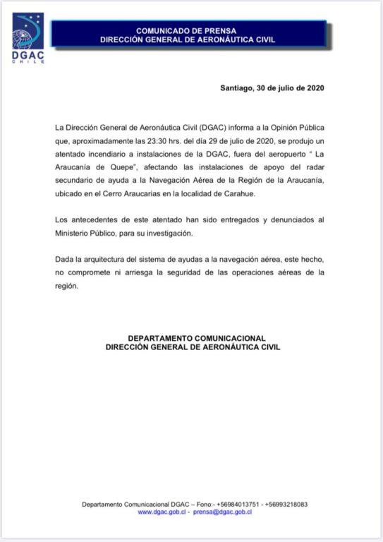 Comunicado DGAC