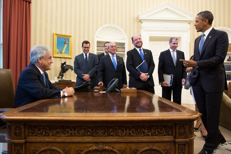 VIsita de Piñera a la Casa Blanca en 2013
