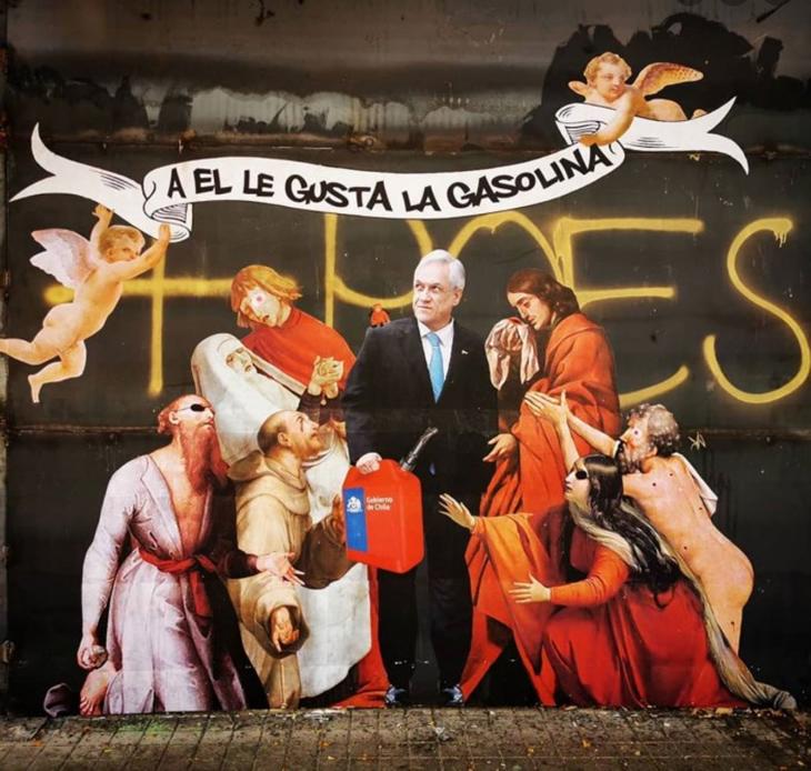 Mural satírico a Sebastián Piñera