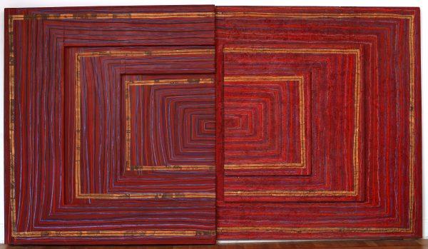 Myra Landau, Ritmo Nº 7 (1970) Técnica mixta sobre madera   Cedida